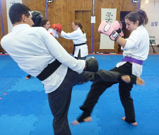 student adult sparring